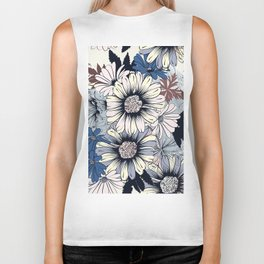 Cute floral pattern in vintage stylewith daisy flowers Biker Tank