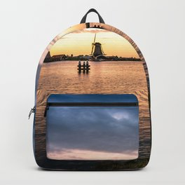 Windmills at sunset Backpack
