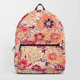 Vintage Patchwork Flower Garden, Red and Cream Floral Sewing Thread Quilt Repeat Pattern Backpack