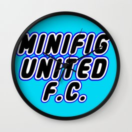 MINIFIG UNITED FOOTBALL CLUB [F.C.] in Brick Font Logo Design [Alternate Colors] by Chillee Wilson Wall Clock