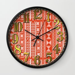 Boho Mud Cloth (Coral) Wall Clock