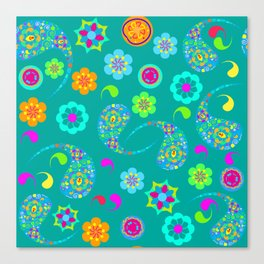Green Paisley № 5 Canvas Print
