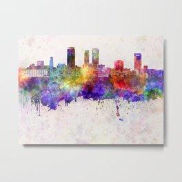 Nagoya skyline in watercolor background Metal Print