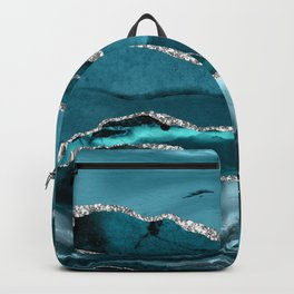 Glamour Turquoise Blue Bohemian Watercolor Marble With Silver Glitter Veins Backpack