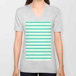 Seafoam Green & Cream Stripes Unisex V-Neck