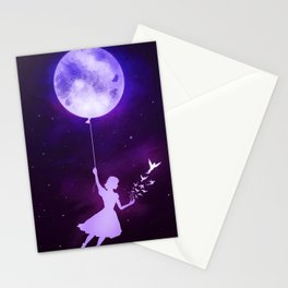 Girl with the Moon Stationery Cards