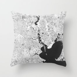 Houston Texas USA - High resolution satellite view of Earth from Space - Black and white Throw Pillow