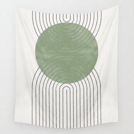 Green Moon Shape Wall Tapestry