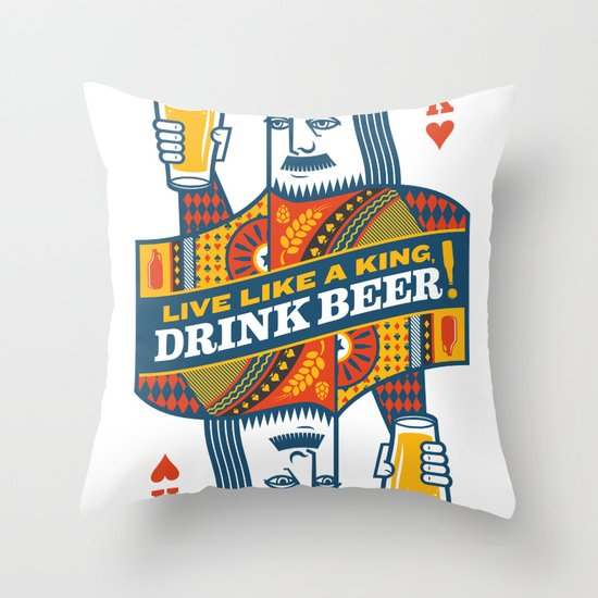 King of Beers Throw Pillow