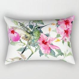 Hibiscus and Hummingbird, Hawaiian Aloha, birds and flowers design Rectangular Pillow