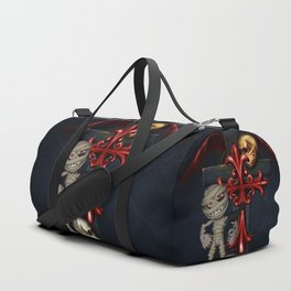 Halloween, funny mummy with crow Duffle Bag