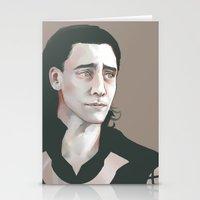 tom hiddleston Stationery Cards featuring Loki (Tom Hiddleston) by xephia