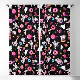 Planet Donuts Watercolor Astronaut Pattern Pink Black Blackout Curtain