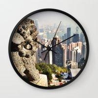 hong kong Wall Clocks featuring Hong Kong by amberino