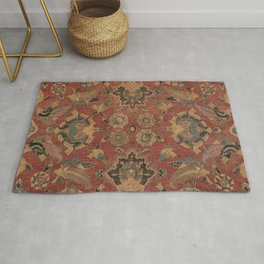 Flowery Boho Rug V // 17th Century Distressed Colorful Red Navy Blue Burlap Tan Ornate Accent Patter Rug