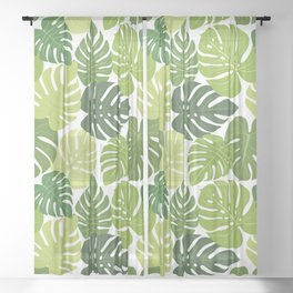 Monstera Leaves Pattern (white background) Sheer Curtain