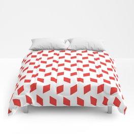 rhombus bomb in poppy red Comforters
