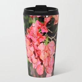 Hot Coral Floral Travel Mug