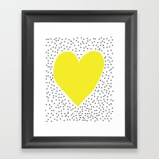 Yellow heart with grey dots around Framed Art Print