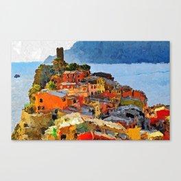 Cinque Terre - Acrylic & Palette Knife Paint on Canvas Canvas Print
