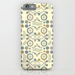 Bicycle Parts Deconstructed in Muted Colors iPhone Case