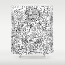 Wander in Black & White - Dreamy Ink Drawing Shower Curtain