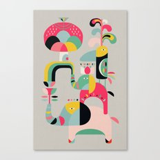 Jungle of elephants Canvas Print