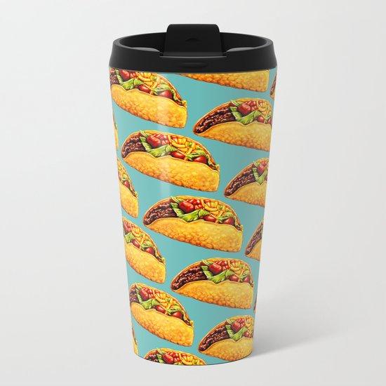 Taco Pattern Metal Travel Mug