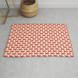 Little Rockets Retro Mid Mod Pattern in Red, Light Olive Green, and Cream Rug