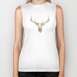 Elk Drawing - Natural Biker Tank