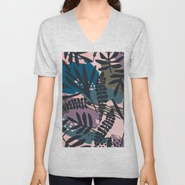 Modern violet pink black tropical floral leaves pattern Unisex V-Neck