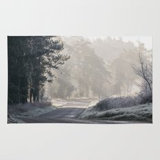 Rays of sunlight and frost along a remote country road. Norfolk, UK. Rug