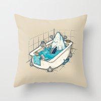 bath Throw Pillows featuring BATH TIME by Letter_q