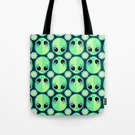 Sad Alien and Daisy Nineties Grunge Pattern Tote Bag
