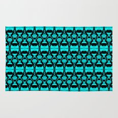 Abstract Pattern Dividers 02 in Turquoise Black Rug