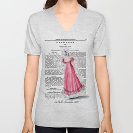 Regency Fashion Plate 1819, La Belle Assemblee Unisex V-Neck