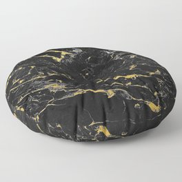 Gold Flecked Black Marble Floor Pillow