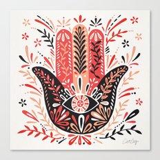 Hamsa Hand – Red & Black Palette Canvas Print