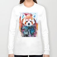 red panda Long Sleeve T-shirts featuring Red panda by Slaveika Aladjova