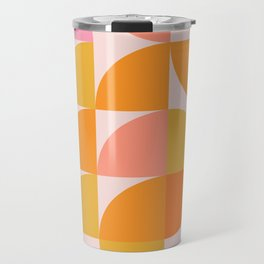 Mid Century Mod Geometry in Pink and Orange Travel Mug