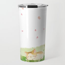 Funny Cats Singing under Cherry Blossoms Travel Mug