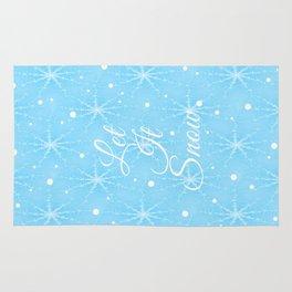 Let It Snow Blue Rug