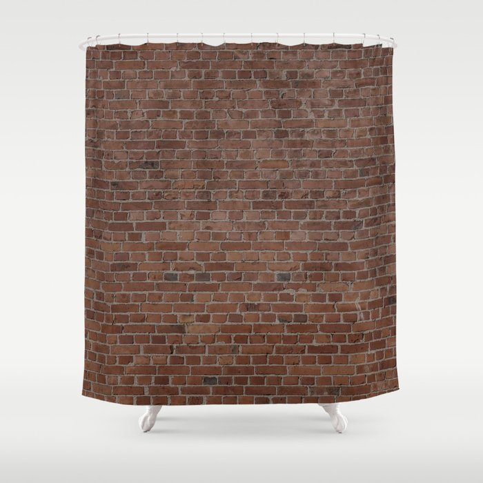 NYC Big Apple Manhattan City Brown Stone Brick Wall Shower Curtain