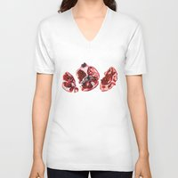 pomegranate V-neck T-shirts featuring Pomegranate  by Sam Luotonen