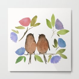 watercolor birdies Metal Print
