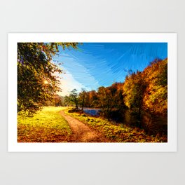 yorkshire river autumn digital oil painting Art Print