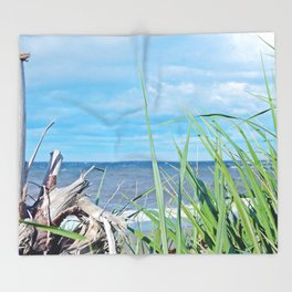 Through Grass and Driftwood Throw Blanket