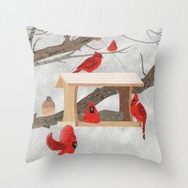 Cardinals at bird feeder Throw Pillow