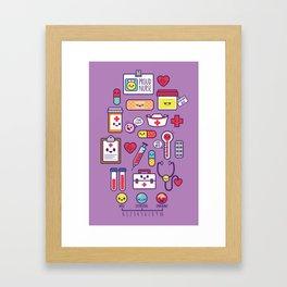 Proud To Be a Nurse Pattern / Purple Framed Art Print