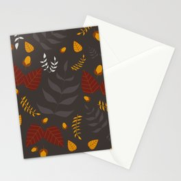Autumn leaves and acorns - brown and ochre Stationery Cards